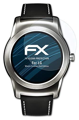 atFoliX Schutzfolie kompatibel mit LG Watch Urbane 2nd Edition Folie, ultraklare FX Bildschirmschutzfolie (3X)