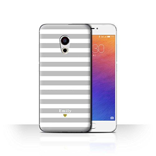 Stuff4 Phone Case/Cover/Skin/mzupro6/Custom Stripes/Striped Collection Coeur Argent/Gris