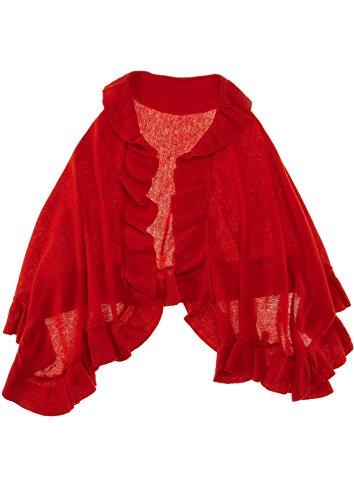 Passigatti Stola / Überwurf mit Volant - Farbe: rot
