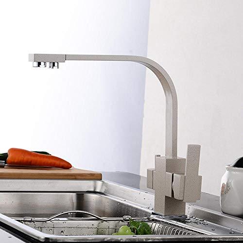 grifo osmosis cobre, grifo cocina, grifos de cocina fregadero beige, para Agua Caliente y Fría, grifo cocina osmosis 2 salidas, grifos cocina, grifo osmosis 3 vias