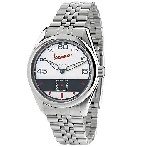 Vespa Watches Herren Analog Armbanduhr mit weißem Zifferblatt, Quarzuhrwerk und Stahlarmband