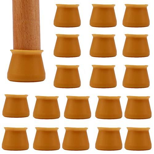 Tappi per sedie-32Pcs Tappi per gambe per sedie per mobili, Protezioni per gambe in silicone per sedie Coperture antiscivolo per gambe rotonde,previene graffi e rumori,marrone