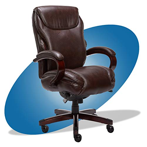 La-Z-Boy Hyland Executive Office Chair with AIR Technology, Adjustable High Back Ergonomic Lumbar Support, Bonded Leather, Brown with Mahogany Wood Finish