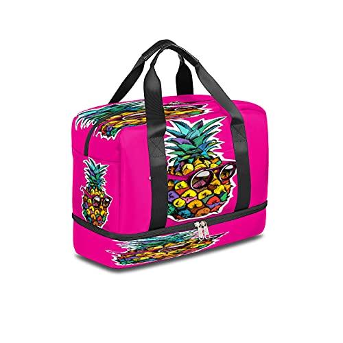 Bolsa de deporte para gimnasio, diseño abstracto de piña, bolsa de viaje ligera durante la noche, con bolsillo húmedo y compartimento para zapatos, bolsa impermeable para hombres y mujeres