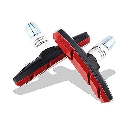 2020 Jans GE' Tienda 2pcs duraderos Camino de la Bicicleta de montaña Zapatas de Freno del Titular Zapatos MTB No Skid frenado V Freno Bloques de Goma (Color : Red)