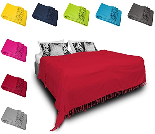 one-home Tagesdecke Bettüberwurf 220x240 cm Sofa Überwurf Bettdecke Doppelbett Baumwolle, Farbe:Rot