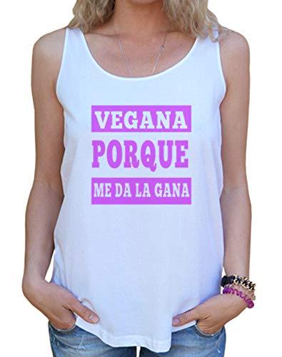 latostadora - Camiseta Vegana Porque Me Da la para Mujer Blanco M