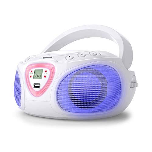 AUNA Roadie - Radio-CD, Chaîne stéréo, Boombox, Lecteur CD, Port USB, MP3, Tuner Radio AM/FM, Bluetooth 2.1/EDR, Entrée RCA-AUX-Jack 3,5 mm, Éclairage LED Multicolore, 2x1,5W (RMS) - Blanc