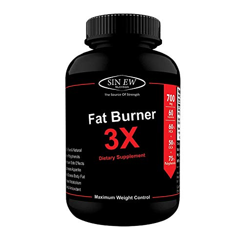 Sinew Nutrition Natural Fat Burner 3X (Green Tea, Green Coffee & Garcinia Cambogia Extract) - 700 mg (60 Count)