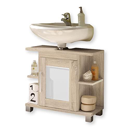 daheim.de POSEIDON szafka pod umywalkę o wyglądzie dębu sonoma, biała szafka łazienkowa z dużą ilością miejsca do przechowywania, materiał drewnopochodny, 66 x 59 x 30 cm