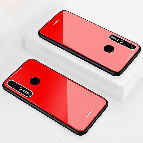KSHOP Compatible con Funda para Samsung Galaxy a40, Estuche Carcasa Forro Ultra Delgada TPU Parachoques, Trasera de Vidrio Templado - Rojo