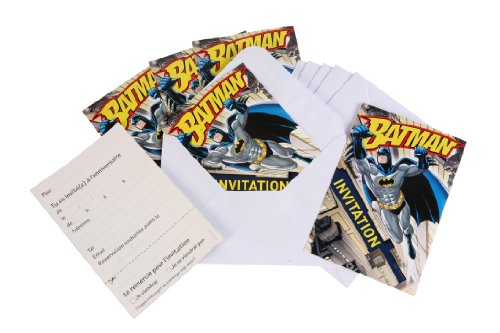 DYNASTRIB Batman Einladungskarten x 6 9005484 Mehrfarbig, 10 x 15 cm