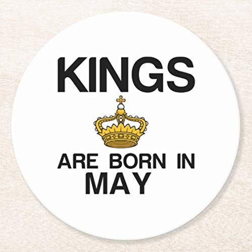 Posavasos para bebidas con base de corcho, juego de 4 posavasos redondos Kings are Born in May