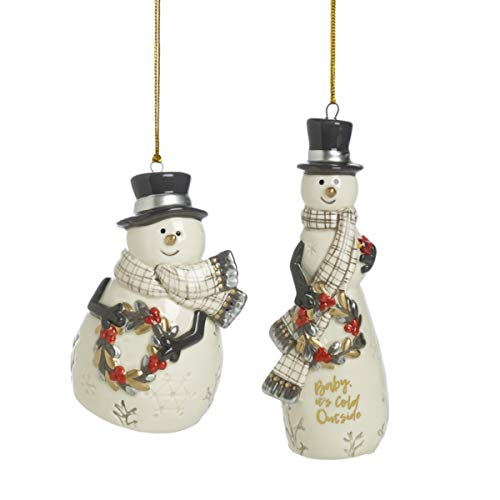 Fitz and Floyd Wintry Woods Snowman Collectible Christmas, 2-Piece, Ornament Set -  Lifetime Brands Inc., 49-790