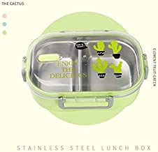 WMC Portable Japanese Lunch Box with Compartments Tableware with 304 Stainless Steel Kids Bento Box Microwave Food Container