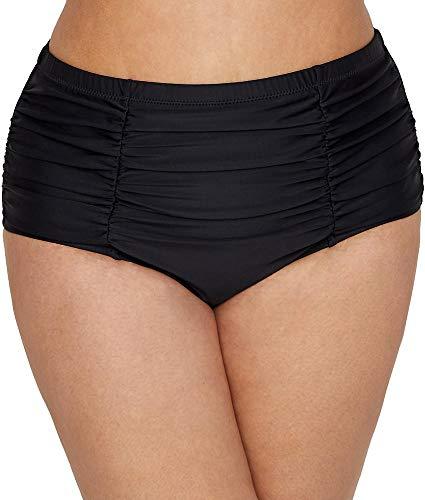 Raisins Curve Plus Size Samba High-Waist Costa Bikini Bottom, 20W, Black Ice