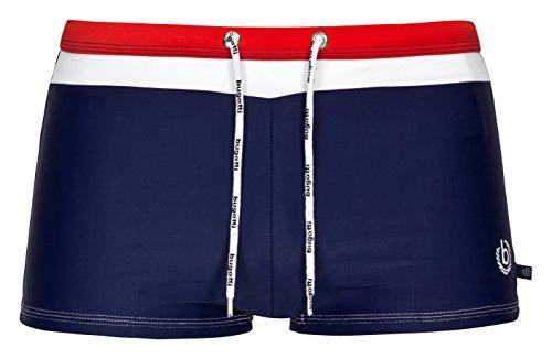 Bugatti® - Moderne Herren Badehose/Badepants in grün, Marineblau, rot, schwarz oder türkis (Marine/rot, X-Large (Herstellergröße: 7))