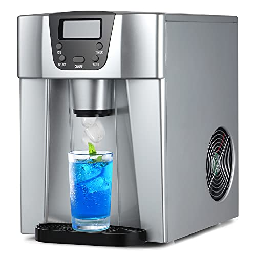 COOLLIFE Compact Countertop Ice Maker Machine with Water Dispenser,Produces 36 lbs Ice in 24 Hours, LED Display (1, 12)