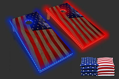 PartyPongTables.com New 4 ft. X 2 ft. Wood PartyToss Cornhole Boards & Bean Bag Toss Game Set w/Color-Changing LED Lights - USA Flag