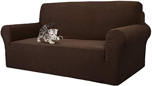 JIAYOUFC Sofa Slipcovers Newest Checkered Jacquard Sofa Slipcovers, Stretch Polyester Spandex Sofa Slipcover Replacement Anti-Slip Furniture Protector (Dark Coffee,4 Seater/Sofa)
