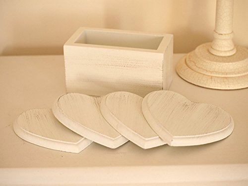 Shabby Chic Style Cream Wooden Coaster Set Hearts Design - in Wooden Coaster Container - Set of 4 Cream Coasters by Heaven Sends