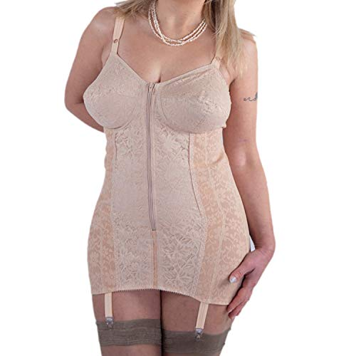 BODYPERFECT Body modellante contenitivo donna Body Snellente Busto Shapewear Corsetto con reggicalze Bustino Shaper Made in Italy (Nudo, 4XL)