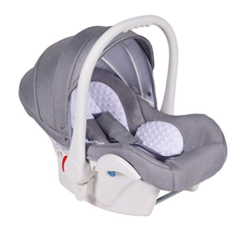 Clamaro Babyschale Auto 'JUNO white' ultraleicht 2,95 kg mit Anti-Shock Schaumstoff, Gruppe 0+ (0-13 kg) ECE-R 44/04 - Baby Autositz inkl. Sonnenverdeck und Fußabdeckung - Hellgrau Leinen