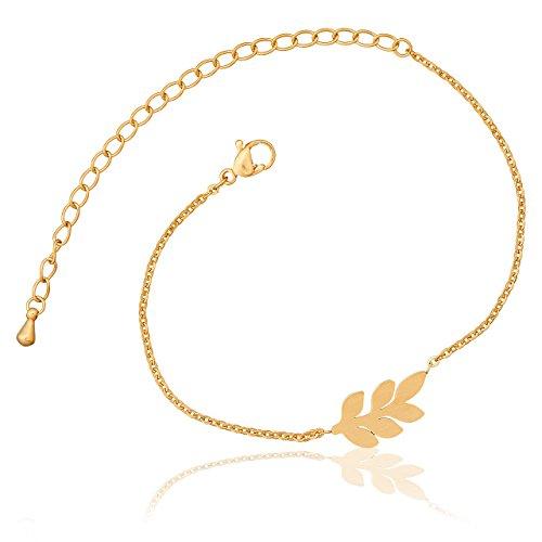 Selia Feder Armband Feather Olivenzweig Armreif Leaf Blatt minimalistische Optik Edelstahl handgemacht (Gold)