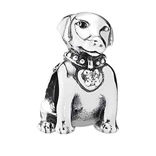 EvesCity - Abalorio de plata de ley 925, diseño de perro labrador