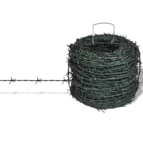 vidaXL Barbed Wire 328' Green Iron Barbwire...