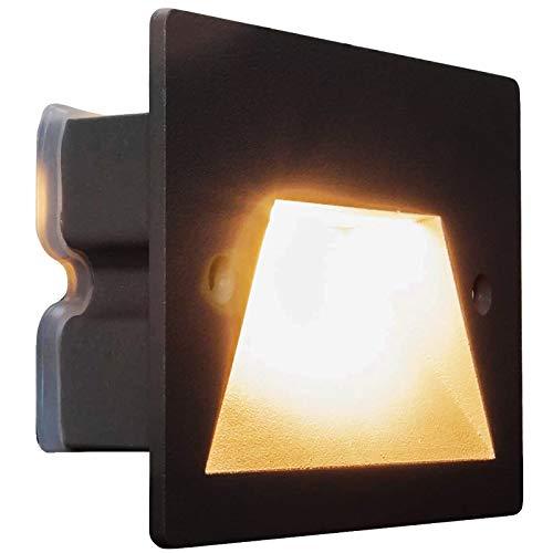 Foco para marcar el camino, IP65, LED, 3 W, empotrable, caja 503, escaleras, jardín, caminos, escalones (6000 K, negro)