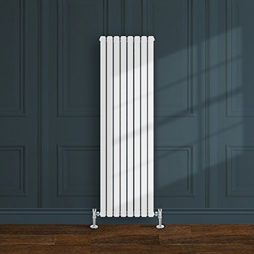 Simple Home | 1600 x 472 mm Radiador diseño Borvo brillante blanco horizontal panel soltero oval