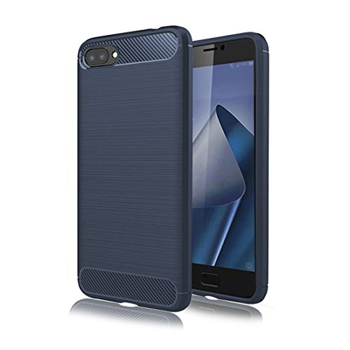 ZenFone 4 Max Case,Only for 5.5 inch Mustaner Carbon Fiber Shock-Absorption Flexible TPU Rubber Soft Silicone Full-Body Protective Cell Phone Cover for Asus ZenFone 4 Max Pro ZC554KL (Navy Blue)