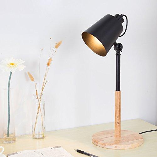 Scandinavian style personnalité étude salon oeil apprendre à lire led lampe de table créative mode en bois art chambre (Couleur : Noir)