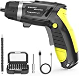 Wonder Master Cordless Screwdriver 4.8V Max,Rechargeable Electric Screwdriver with Screw Bits Set Li-ion Electric Dril Cordless Charging Screwdriver Screw Power Gun and Built-in LED Light for Home DIY