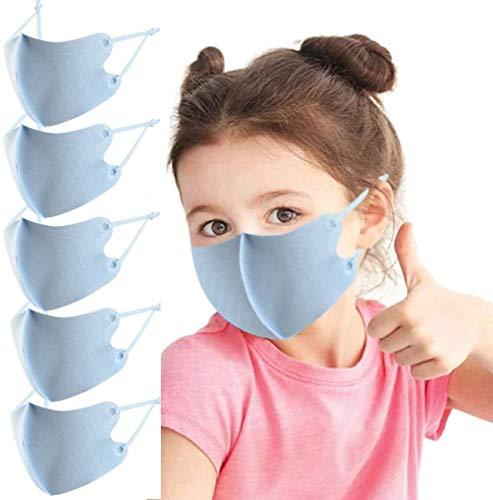 5Pcs Christmas Kids Face_Mask Reusable Washable Adjustable Ear Loops Funny Bandanas Back to School