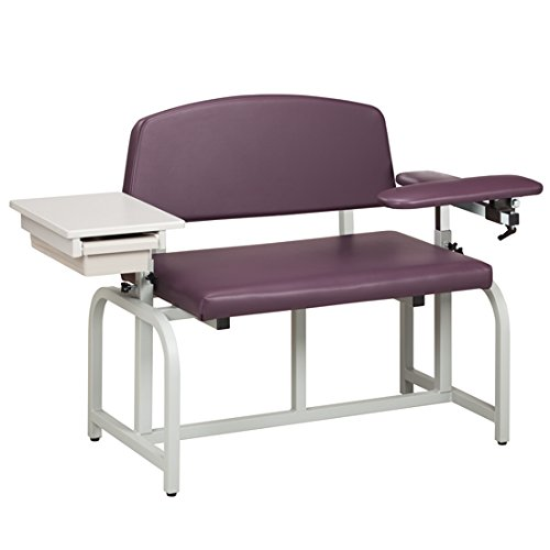 Phlebotomy Equipment - Purple-Gray Colored Lab X Series, Bariatric, Blood Drawing Chair with Padded Flip Arm and Drawer - CL-66002B