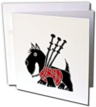 Funny Scottish Terrier Playing the Bagpipes - Greeting Cards, 6 x 6 inches, set of 6 (gc_218740_1)