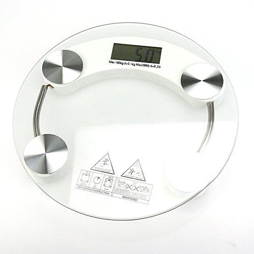MAIKALUN Digitale LCD-Personenwaage, rund, transparentes gehärtetes Glas, lb/kg, max. Gewicht 150 kg