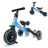 besrey Triciclos para Niños, 5 en 1 Una Bici Multifunción, Adecuado para niños de 1-4 años,Triciclo,Bicicleta,Carro de Equilibrio,Caminante, Altura del Asiento Regulable, Azul