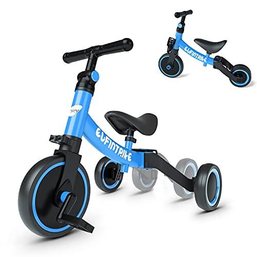 besrey 5 en 1 Tricycle Vélo Enfant ,Tricycle bébé évolutif 1-4 Ans ,Vélo Draisienne ,Vélo sans Pédale, Bleu