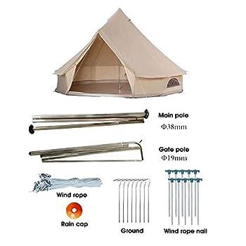 Tente Bell Glamping Tente de yourte en Toile de Coton Ignifuge imperméable 3-12 Personnes 9.84ft / 13.1ft / 16.4ft / 19.7ft tentes familiales