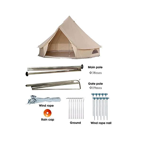 4 Season Bell Tent Outdoor Family Camping Waterproof Bell Tent with Zipped for Family Camping Outdoor Hunting 3