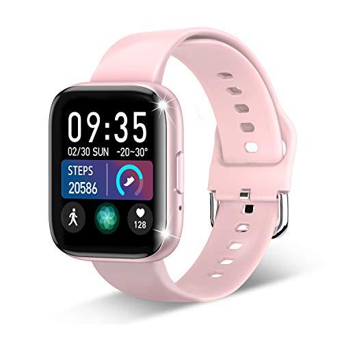 Smartwatch, Fitness Tracker für 1.55 Zoll Touch-Farbdisplay Fitness Armband Wasserdicht IP67,Smart Watch mit Schrittzähler Schlafmonitor GPS 8 Sportmodi Sportuhr Smart Watch für Android und iOS (Rosa)