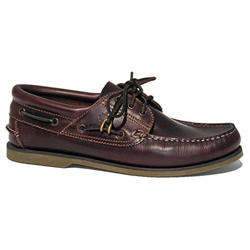 BluePort Herren Bootsschuh Klassik - Comfort Segelschuh in braun mit brauner Sohle, Größe:44 EU