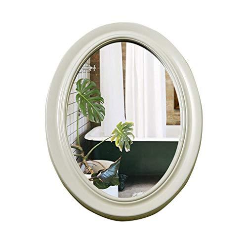 Qing MEI Europäischer Ovaler Badspiegel Badezimmerwand Anti-Fog-Spiegel Waschtischspiegel Wohnzimmerdekoration Hängespiegel/Kosmetikspiegel