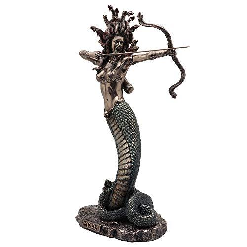 Veronese Design Statue, griechische römische Göttin, 35,6 cm hoch, Kaltguss, Bronze-Finish, Furious Medusa Shooting Pfeil