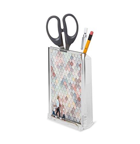 Umbra Optic Acryl Bilderrahmen – 10x15 cm Tischbilderrahmen mit Integriertem Behälter für Stifte, Schreibwaren, Kleine Pflanzen und Mehr, Salbei Grün / Acryl