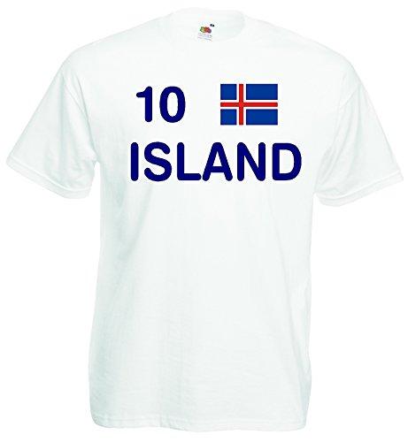 World-of-Shirt Herren T-Shirt Island EM 2016 Trikot Fanshirt Nr.10|Weiss-M