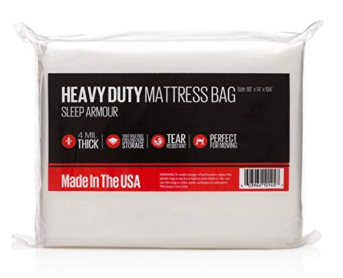 Sleep Armour Heavy Duty Mattress Bag : 4 mil Thick Mattress Bag for Moving/Storage, Made in The USA (1, King)